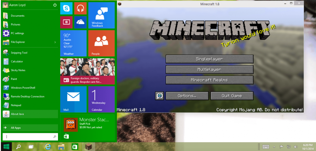 Minecraft coming for Windows 10
